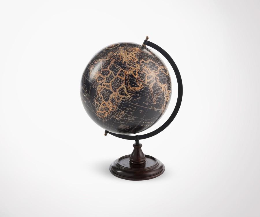 Mappemonde noire sur pied GLOBAL - 45 cm