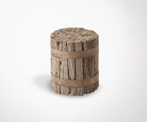 Cylindrical wooden style stool GHUER