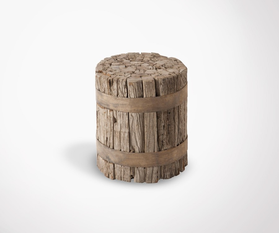 Tabouret cylindirque bois style campagne GHUER