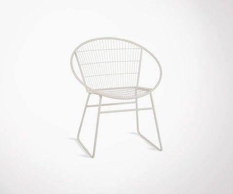 Designer white metal armchair HYGRA