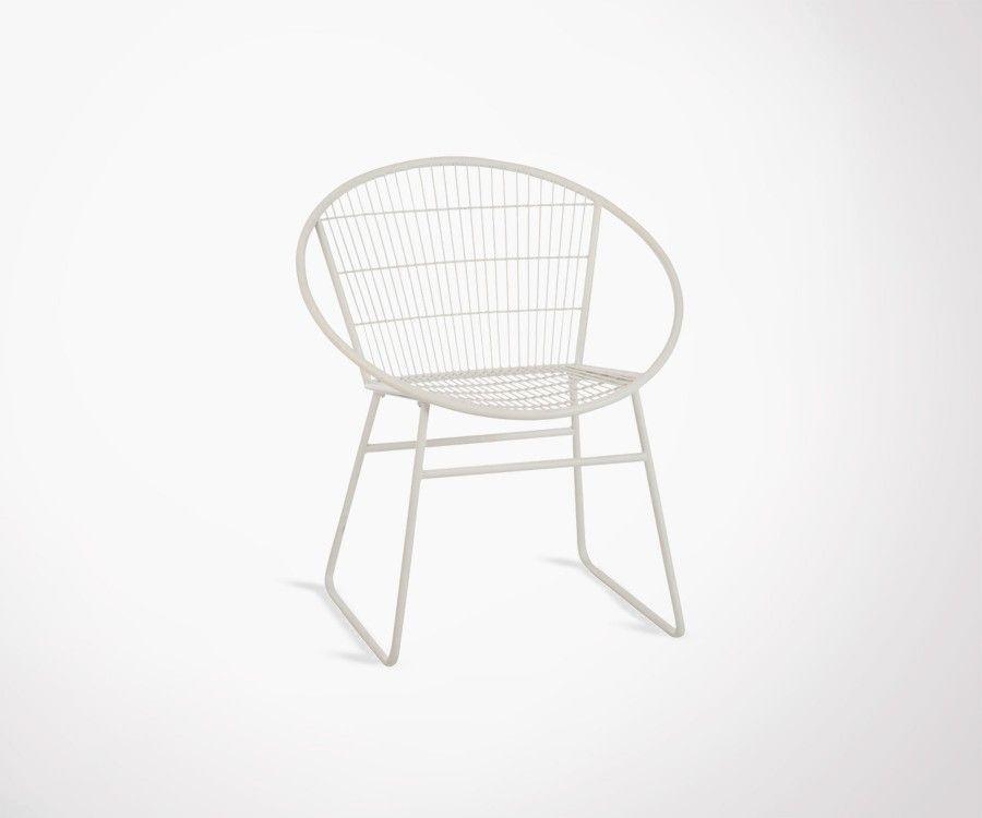 Fauteuil métallique blanc design HYGRA