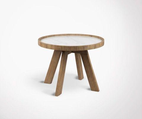 Table d'appoint ronde bois plateau céramique HYNA - 60 cm