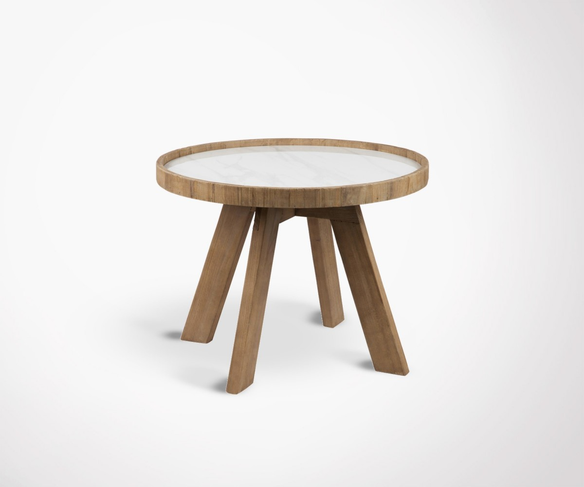 Table Du0027appoint Ronde Bois Plateau Ceramique HYNA   60 Cm. Loading Zoom