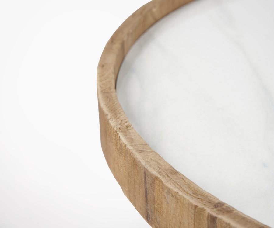 Table d'appoint ronde bois plateau ceramique HYNA - 60 cm