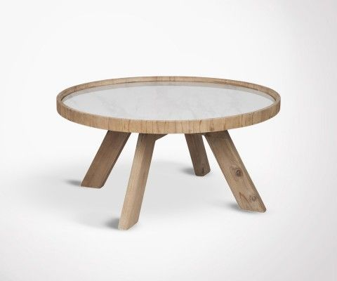Round coffee table with wooden legs HYNA - 79 cm