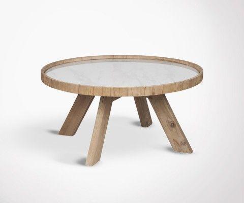 Table basse ronde ceramique pieds bois HYNA - 79 cm