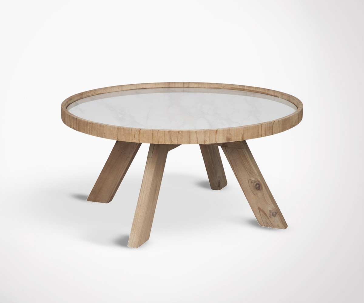 Table basse 79cm ronde naturelle pied bois et plateau - Table basse ceramique design ...