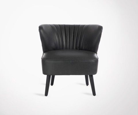 Club chair faux leather black JAZZ