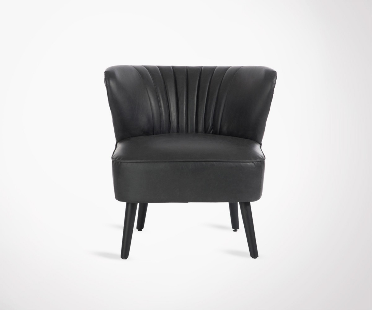 fauteuil club simili cuir noir style ann e 70 id al restaurant. Black Bedroom Furniture Sets. Home Design Ideas