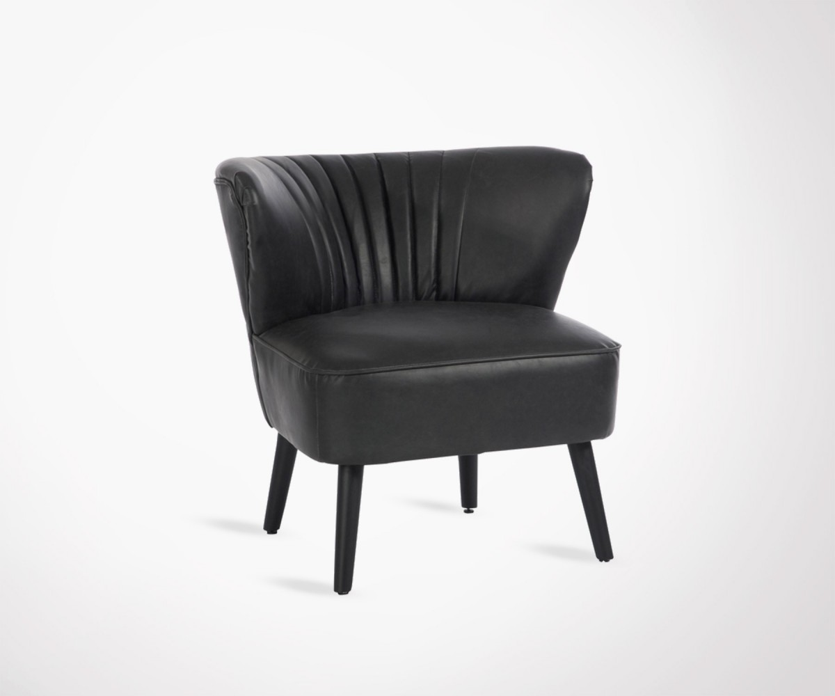 Chair Faux Leather Black Jazz X Fauteuil Club Simili Cuir Noir Loading Zoom