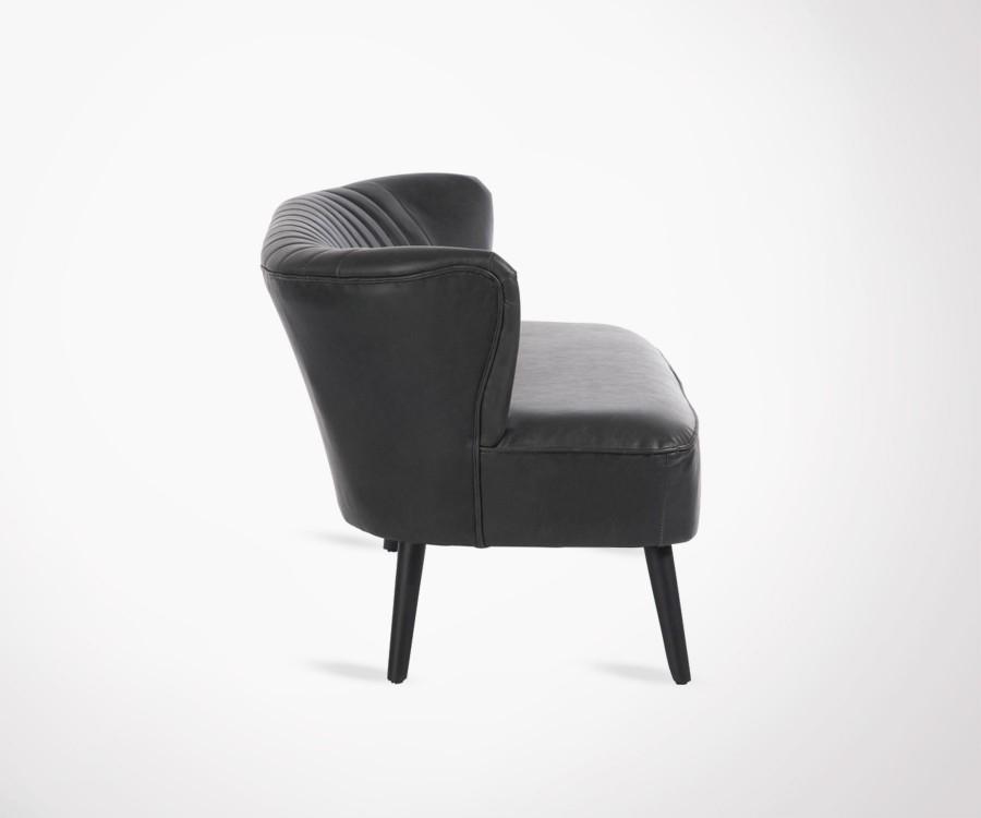 Grand fauteuil cocktail 2 places simili cuir noir style années 70