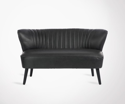 Large 2 seat club sofa black faux leather JAZZ