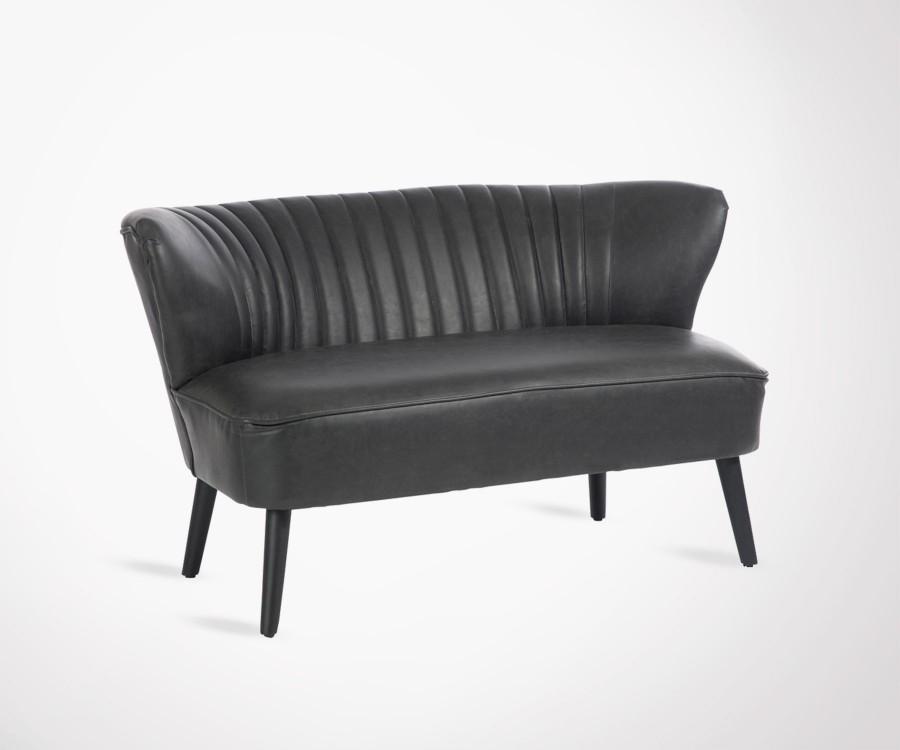 grand fauteuil cocktail 2 places simili cuir noir style ann es 70. Black Bedroom Furniture Sets. Home Design Ideas