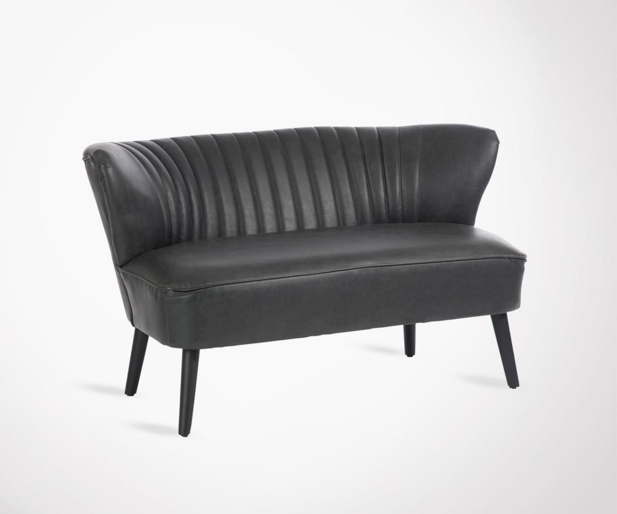 grand fauteuil cocktail 2 places simili cuir noir style. Black Bedroom Furniture Sets. Home Design Ideas