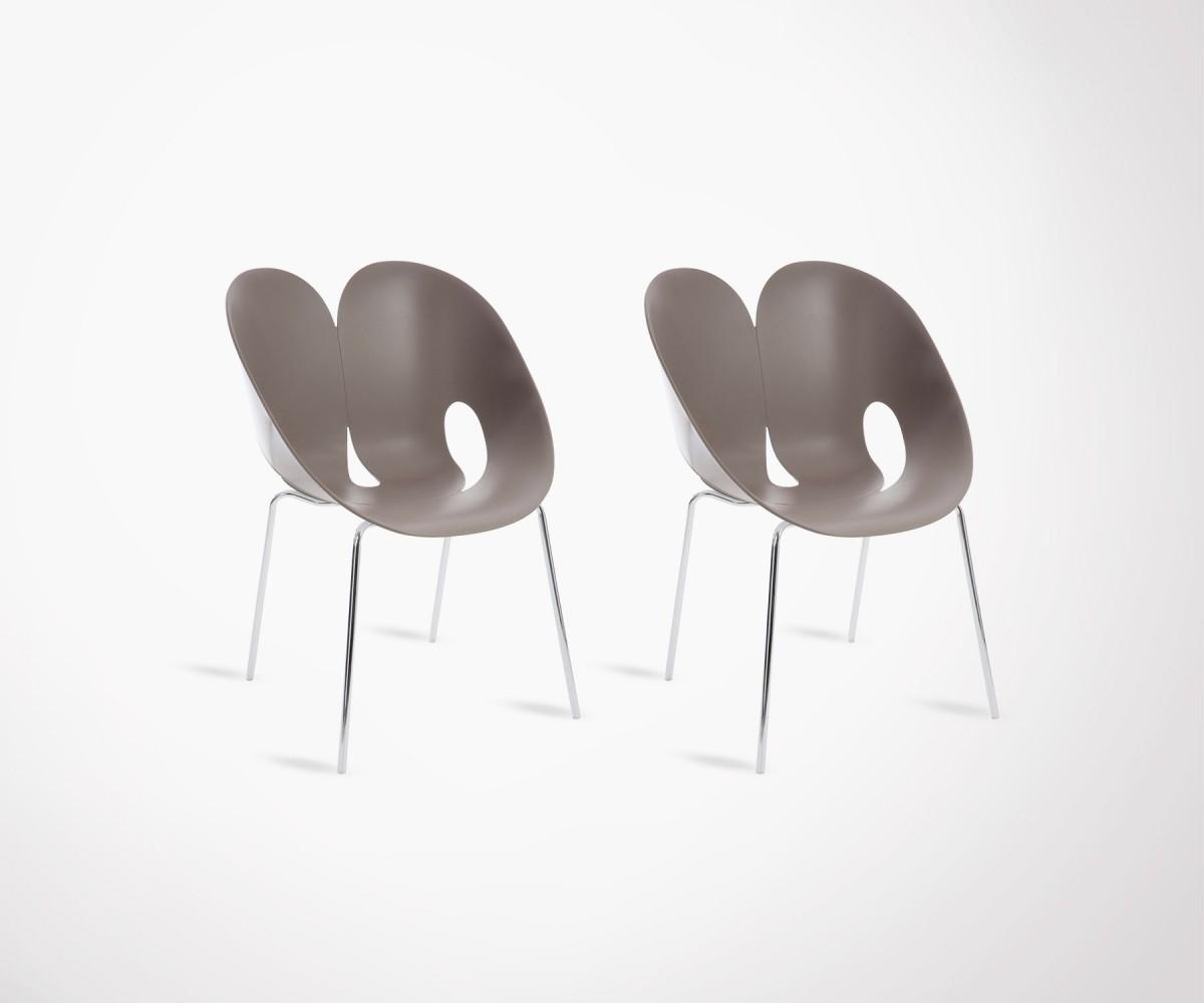 Lot 2 Chaises Design Modernes Salle A Manger Plastique Et Metal