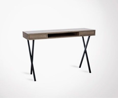 Bureau moderne rectangulaire 2 tiroirs pieds métal JOBS - 120 cm