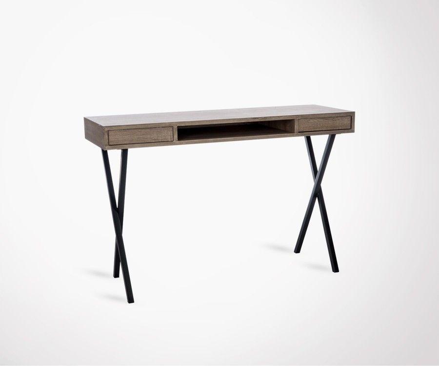 Bureau rectangulaire bois tiroirs pieds métal style moderne