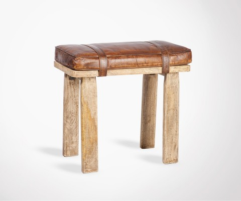 Wooden and leather 53cm table stool LETBUD