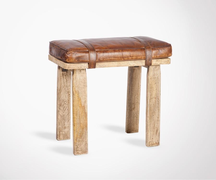 Tabouret de table bois cuir style brut LETBUD