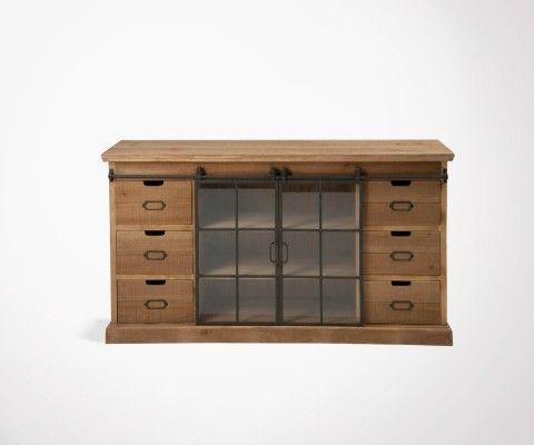 Dresser 6 drawers + 2 sliding doors LIBI - 148 cm