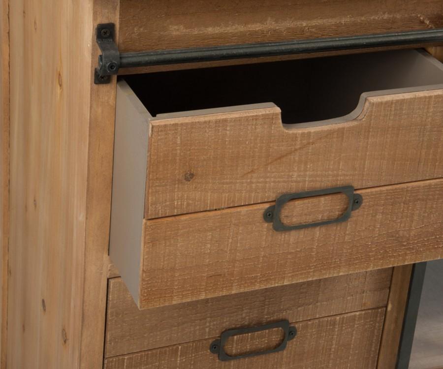 Commode 6 tiroirs + 2 portes coulissantes LIBI - 148 cm