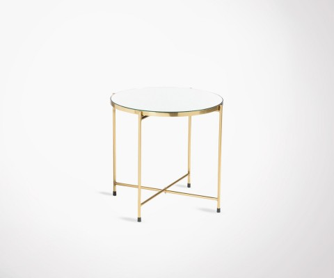 Art Deco side table gold metal mirror tray LODEO