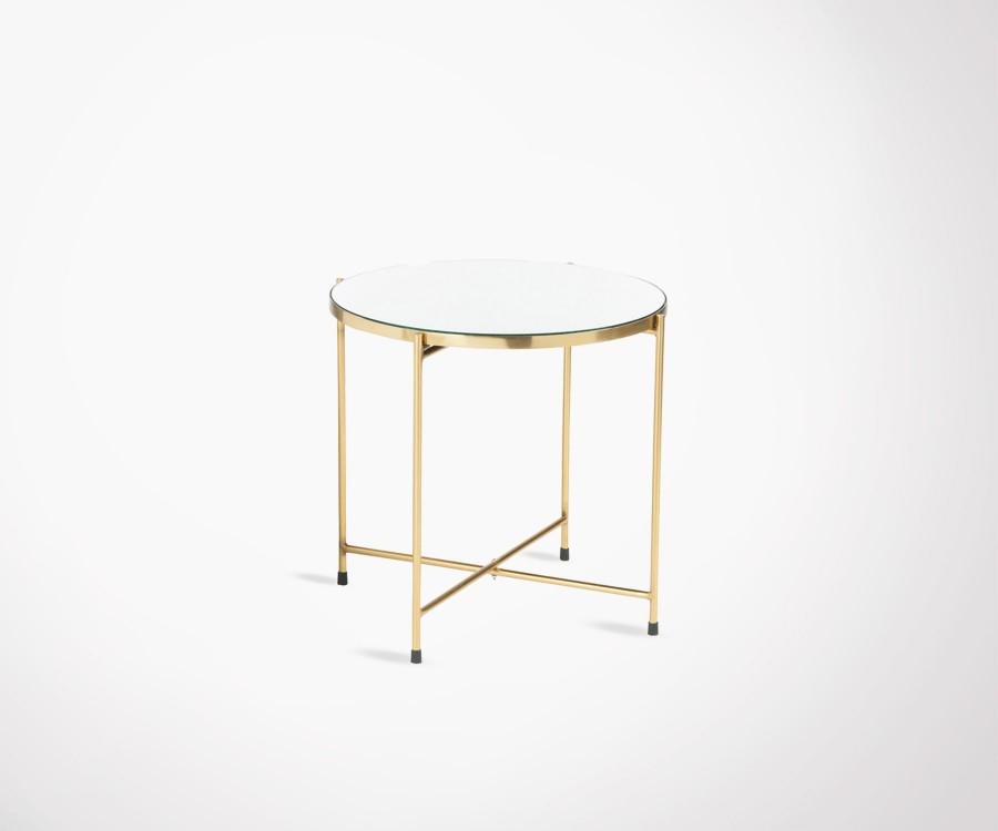 Table d'appoint art déco métal doré plateau miroir LODEO
