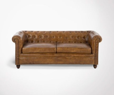 Chesterfield 2 places cuir cognac LONDON - 185 cm