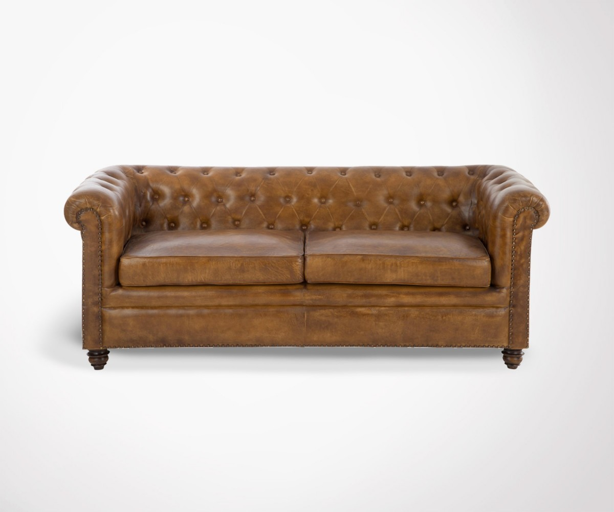 chesterfield 2 places 100 cuir cognac 185cm marque j line. Black Bedroom Furniture Sets. Home Design Ideas