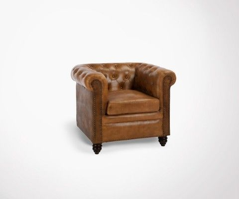 Chesterfield 1 place cuir cognac LONDON
