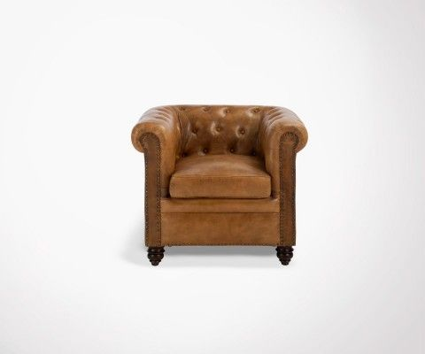 Chesterfield 1 place cognac leather LONDON