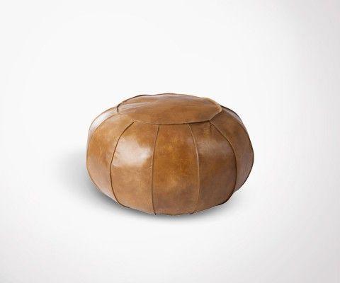 MEDECINE cognac leather pouf - 61 cm