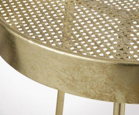 Lot 2 tables d'appoint rondes métal style antique MOLP