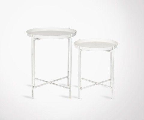 2 tables gigognes métal blanc style industriel NEAZ