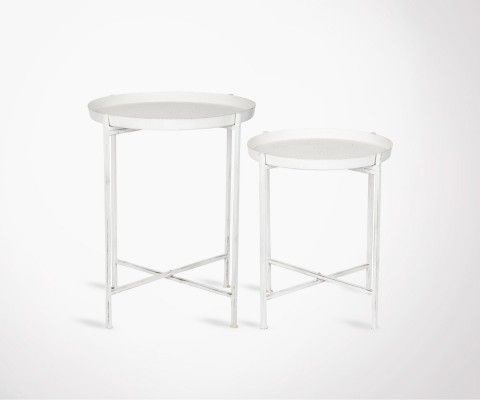 NEAZ 2 white industrial style side tables