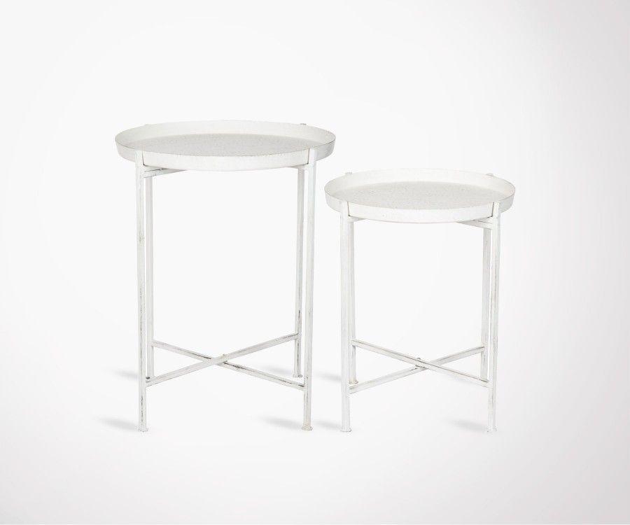 2 tables gigogne métal blanc style industriel NEAZ