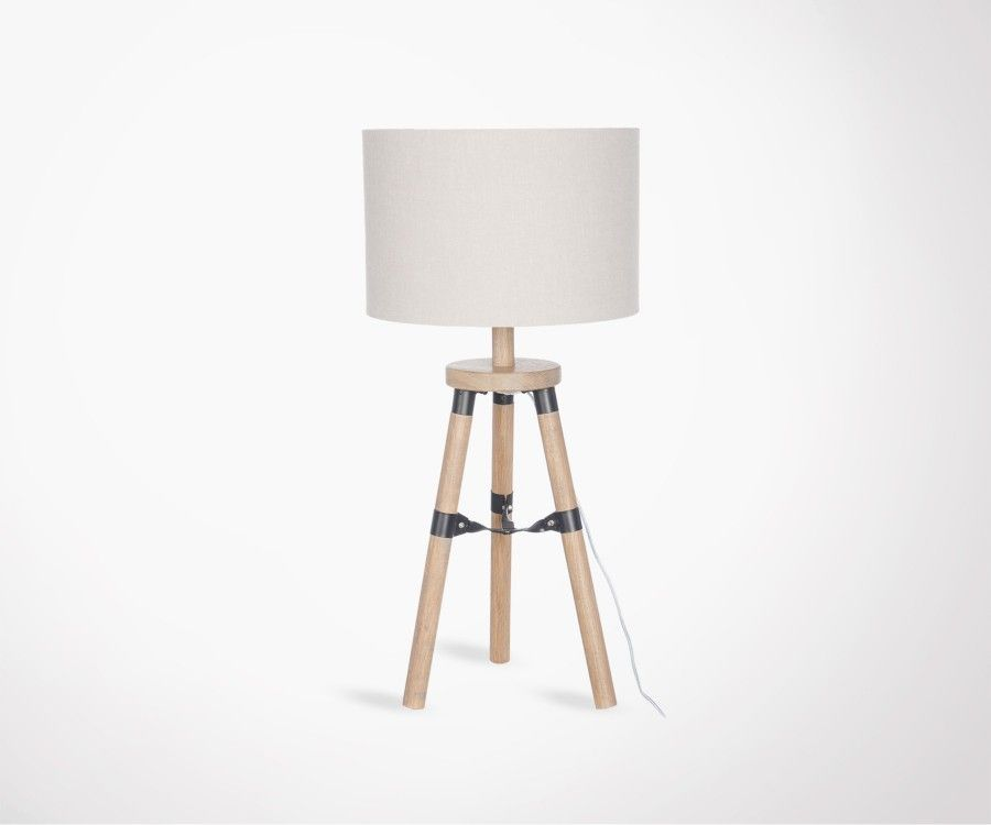 Lampe de table bois naturel look moderne PIEDA - 52 cm