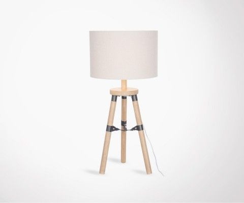 Lampe de table bois naturel look moderne PIEDA - 52 cm