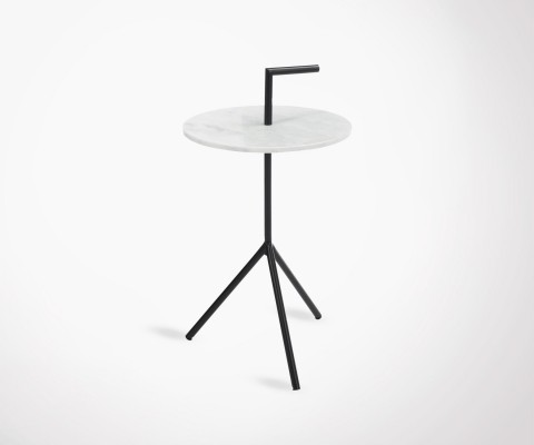 PLAYMO marble and black metal side table