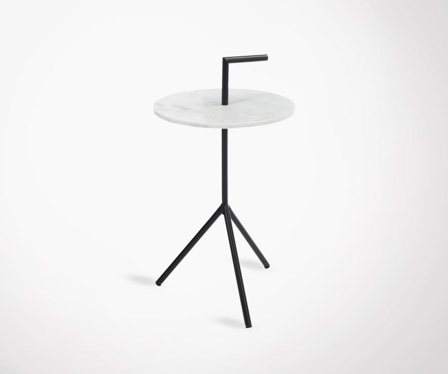 Table d'appoint marbre trépieds noir PLAYMO