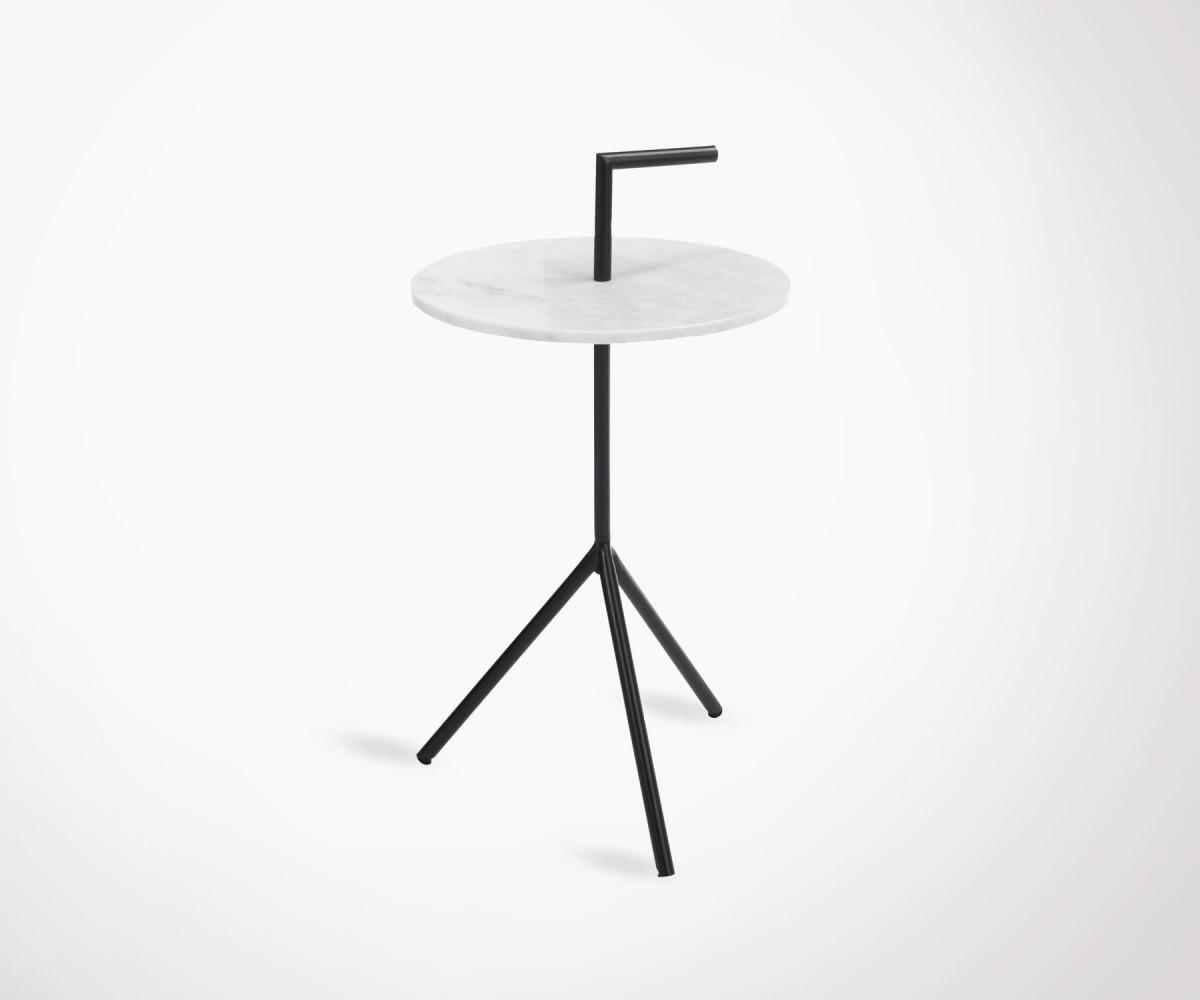 table d 39 appoint 38cm marbre tr pieds m tal noir. Black Bedroom Furniture Sets. Home Design Ideas