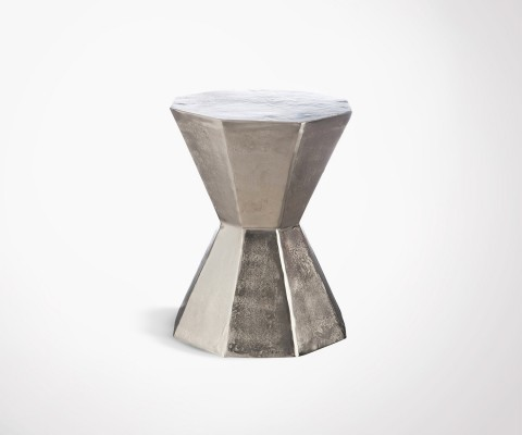 Raw aluminum table stool POLYGONE