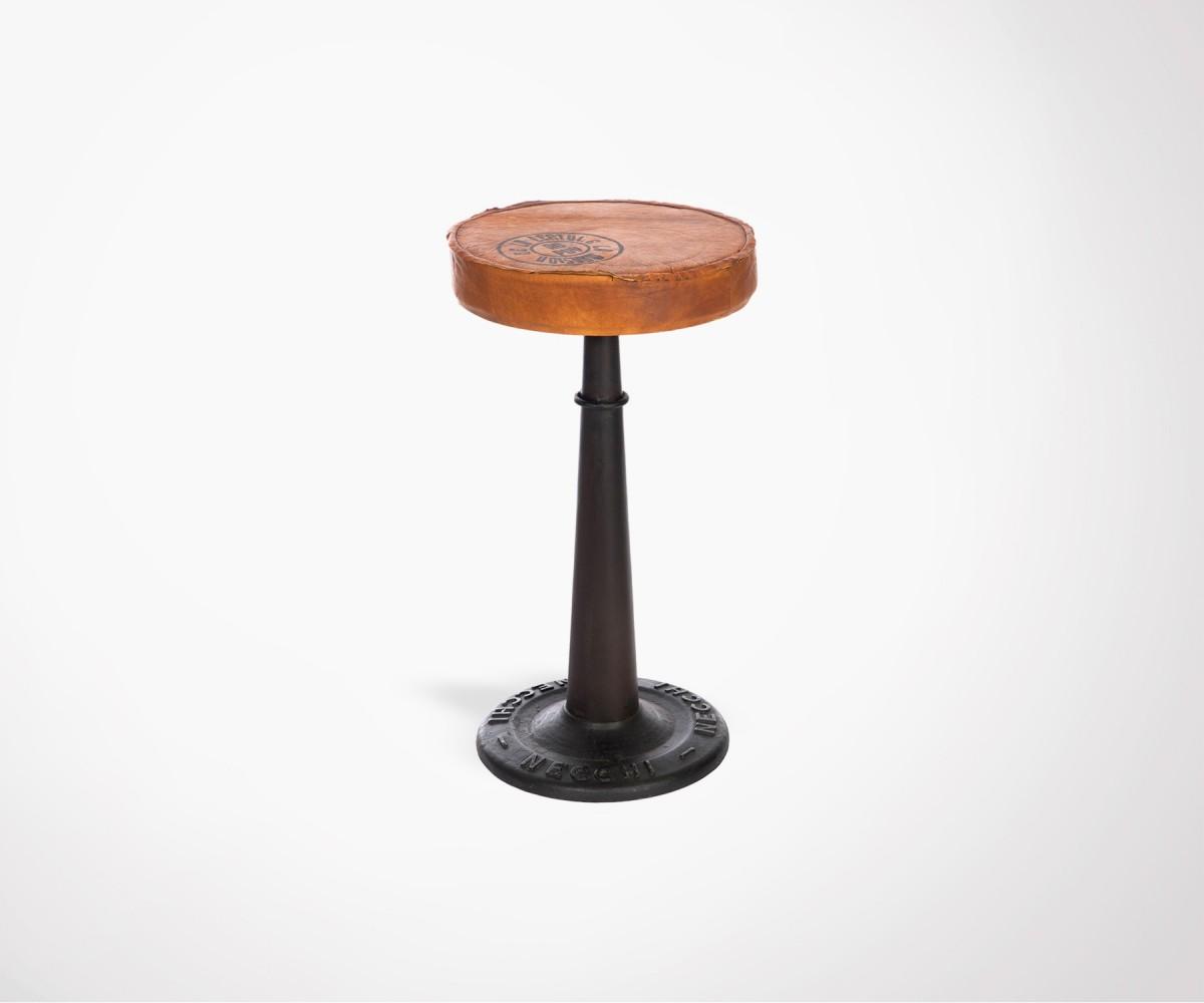 Chaise De Bar 60cm Style Industriel Assise Cuir Vintage Id Al Loft