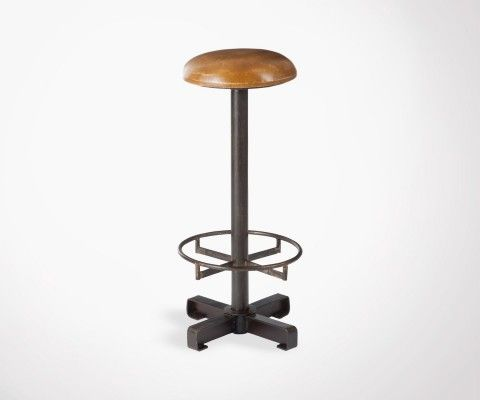 Industrial bar stool with leather seat PUSHET