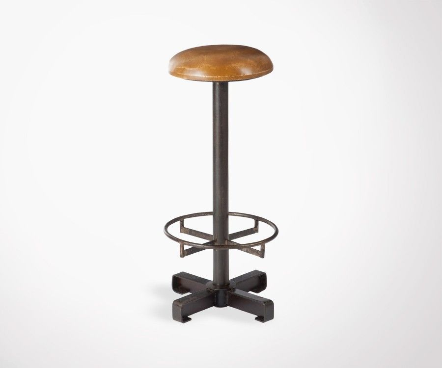 Tabouret bar industriel assise cuir PUSHET