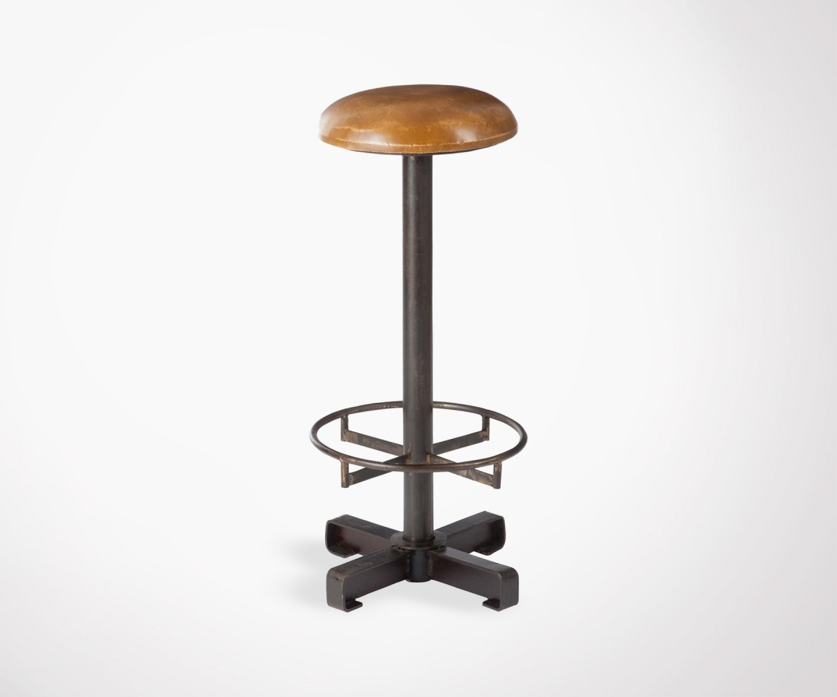 tabouret bar industriel m tal et assise cuir caramel j line. Black Bedroom Furniture Sets. Home Design Ideas