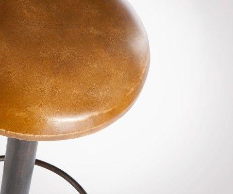 Tabouret bar industriel assise cuir PUSHET