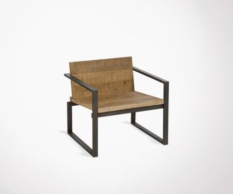 QUERY industrial wood and metal lounge chair
