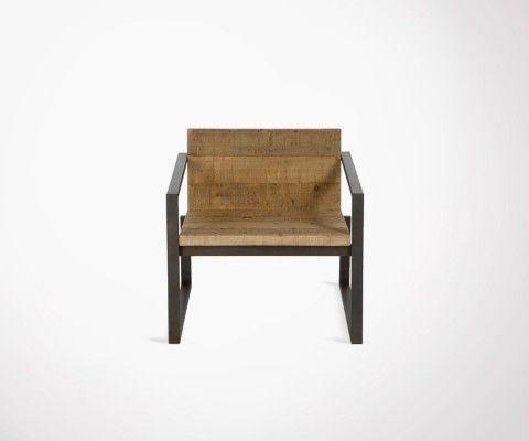 Chaise de salon bois brut et métal noir QUERY