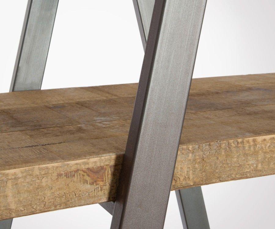 Étagère pyramide bois brut et métal noir QUERY